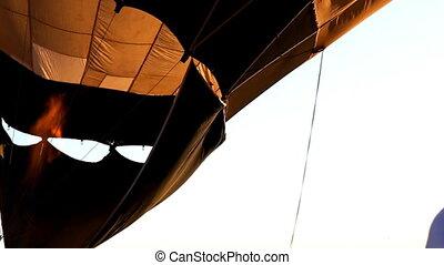 début, balloon, haut, levers de soleil