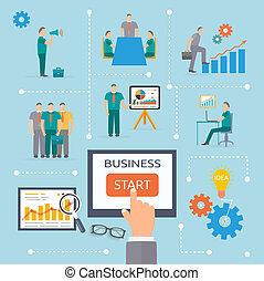 début, business, gabarit, infographics