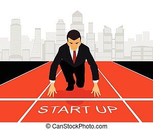 début, business, haut
