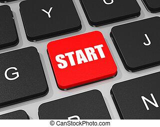 début, clé portable, computer., clavier