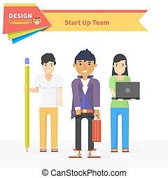 début, conception, haut, communauté, équipe