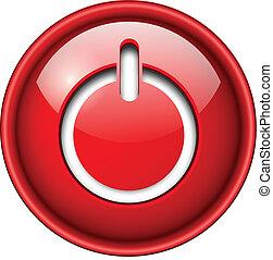 début, icône, button.