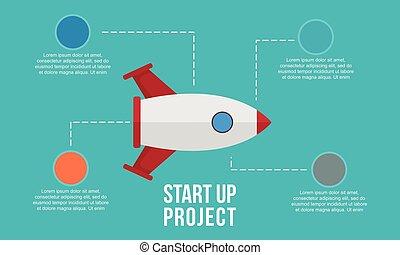 début, infographic, haut, business, élément