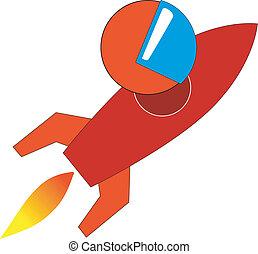 début, symbolique, fusée