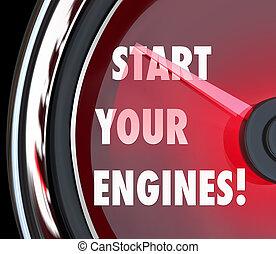début, ton, moteurs, compteur vitesse, commencer, course,...