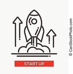 début, unique, haut, business, icône