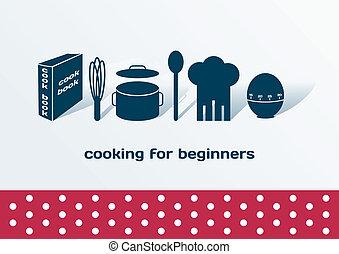 débutants, cuisine, ensemble