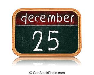 décembre, bannière, 25, tableau noir