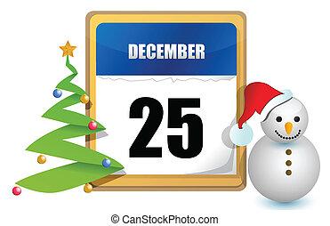 décembre, calendrier, 25
