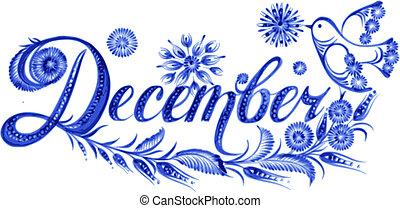 décembre, les, nom, de, les, mois
