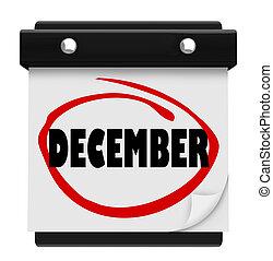 décembre, mot, calendrier mural, changement, mois, hiver,...