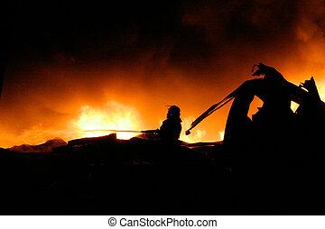 déchaînement, brûler, pompiers, silhouette, combat