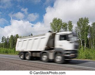 décharge, barbouillage, autoroute, mouvement, camion, expédier, rural, blanc