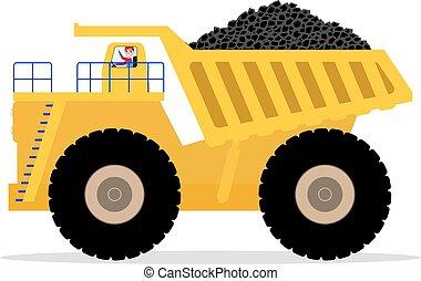 décharge, chauffeur, charbon, porte, vecteur, camion