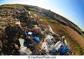 décharge, déchets, plastique, mise en décharge, tas, ...