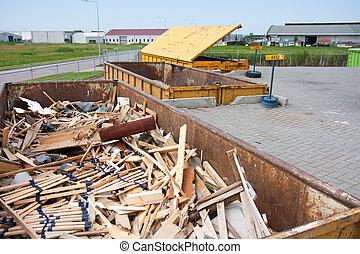 décharge, fer, refuser, grand, benne ordures, groundwood
