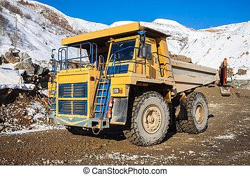 décharge, minerai, mine, camion
