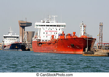 décharge, pétrolier, quai