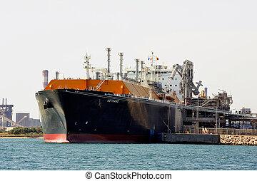 décharge, pétrolier, quai, méthane