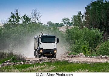 décharge, route, camion