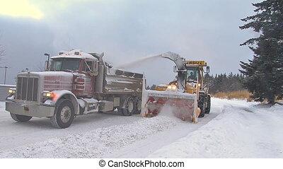 décharge, snowblower, camion, fin