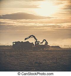 décharge, track., chantier, construction, chargement, excavateur