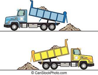 décharge, vecteur, camion, eps, fichier