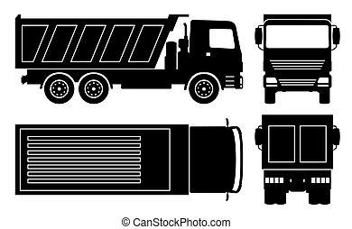 décharge, vecteur, noir, camion, illustration, icônes