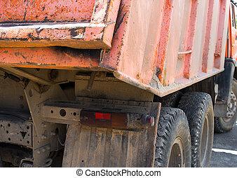 décharge, vue., orange, truck., arrière