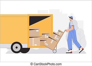 déchargement, ouvriers, plat, vecteur, boxes., caractères, business, livraison, illustration., style, entrepôt