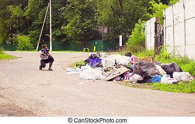 déchets, écologiste, dump., photos, scientifique, confection