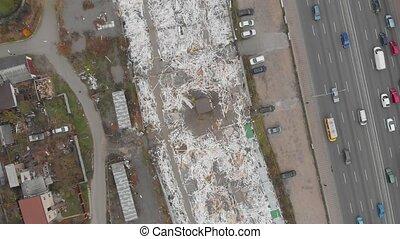 déchets, bâtiments, démoli