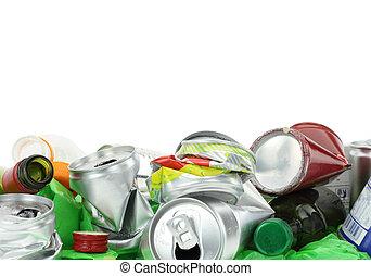 déchets, blanc, isolé, fond