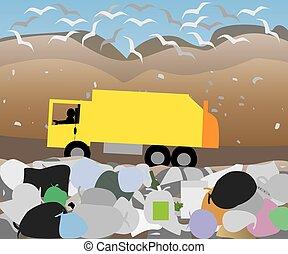 déchets, camion, mise en décharge