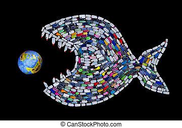 déchets, détruire, mondiale, océans, et, la terre, -,...