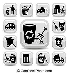 déchets, icônes