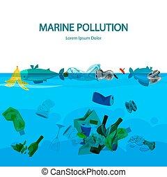 déchets, illustration, eau, vecteur, marin, pollution