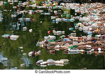 déchets, lac