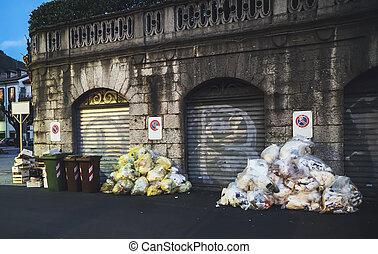 déchets ménagers, ambiant, jeté, rue., pollution., lot