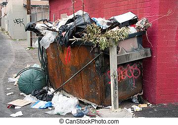 déchets ménagers, benne ordures, dans, taudis