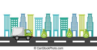 déchets ménagers, camion, conception