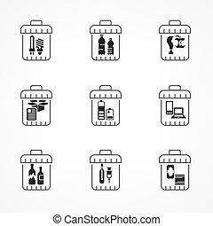 déchets ménagers, déchets, recyclage, icônes, ligne, gaspillage