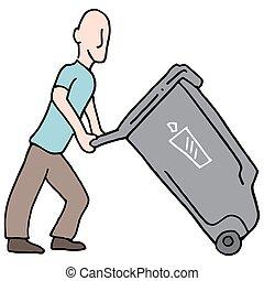 déchets ménagers, en mouvement, boîte, homme