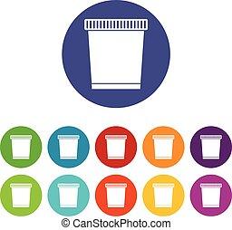 déchets ménagers, ensemble, boîte, icônes