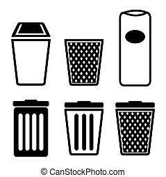 déchets ménagers, icône, ensembles