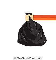 déchets ménagers, image, sac plastique, vecteur, noir, tenant main