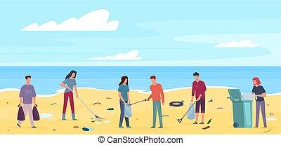 déchets ménagers, plat, plage., volontaires, ramassage, protection, haut, écologie, concept, gaspillage, plastique, vecteur, océan, côte, déchets, gens, propre