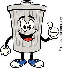 déchets ménagers, pouces haut, boîte, mascotte
