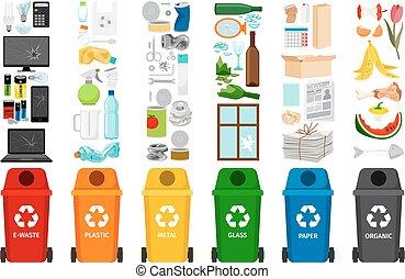 déchets ménagers, types, récipients, déchets