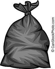 déchets ménagers, vecteur, noir, sac, plastique